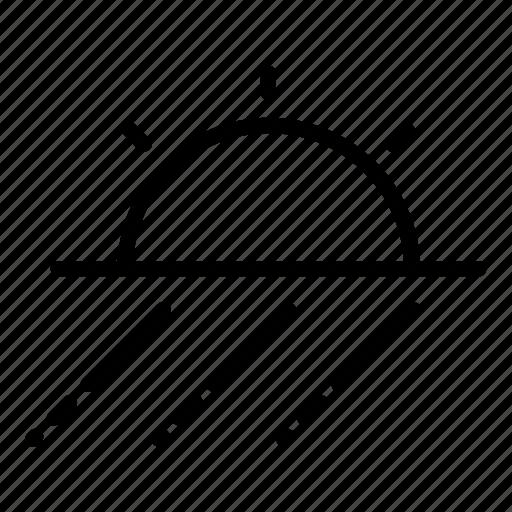 drizzle, rain, raining, showers, sun, sunny, wind icon