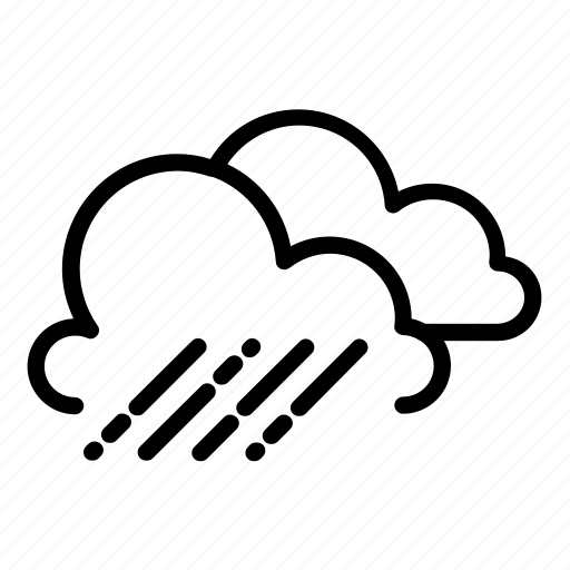 clouds, cloudy, drizzle, raining, rainy, showers, windy icon