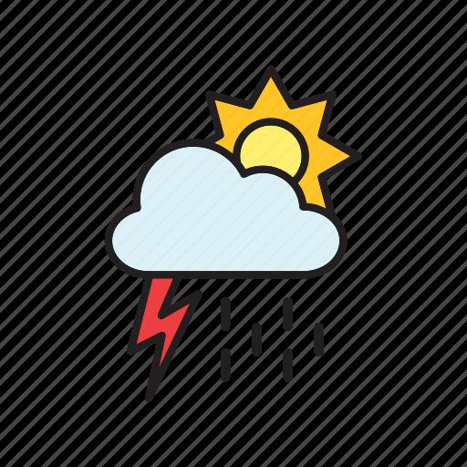 cloud, forecast, meteorology, rain, sun, thunderstorm, weather icon