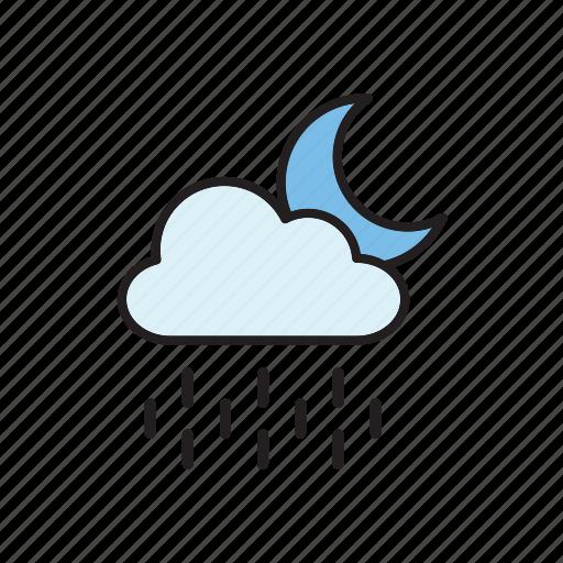 cloud, forecast, meteorology, moon, night, rain, weather icon