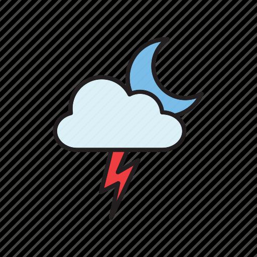 cloud, forecast, lightning, meteorology, moon, thunderstorm, weather icon