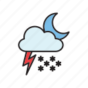 cloud, forecast, meteorology, moon, snow, thunderstorm, weather icon