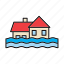 deluge, flood, flooding, house, inundation, water, weather icon