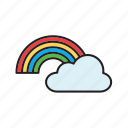bow, cloud, forecast, meteorology, rainbow, weather icon