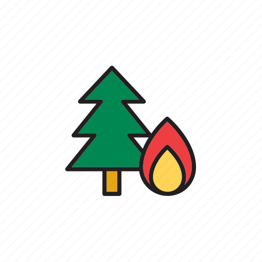 fir, fire, forecast, forest, meteorology, tree, weather icon