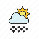 cloud, forecast, meteorology, snow, snowflakes, sun, weather icon