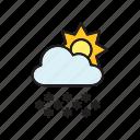 cloud, forecast, meteorology, snow, snowflakes, sun, weather icon