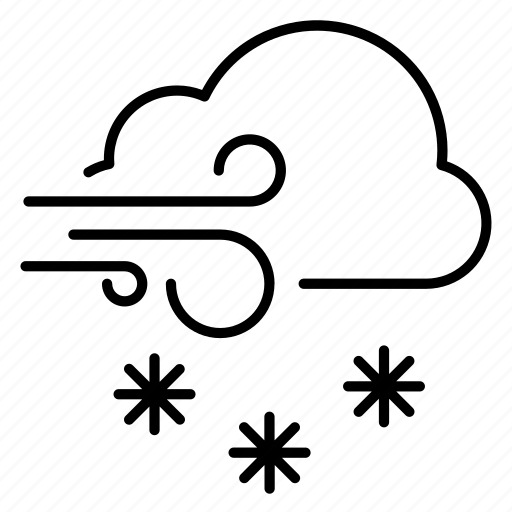 cloud, forecast, snow, weather, wind icon