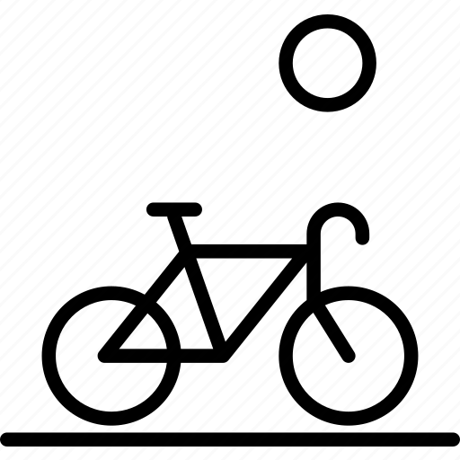 bicycle, drive, hobby, landscape, sun, travel icon