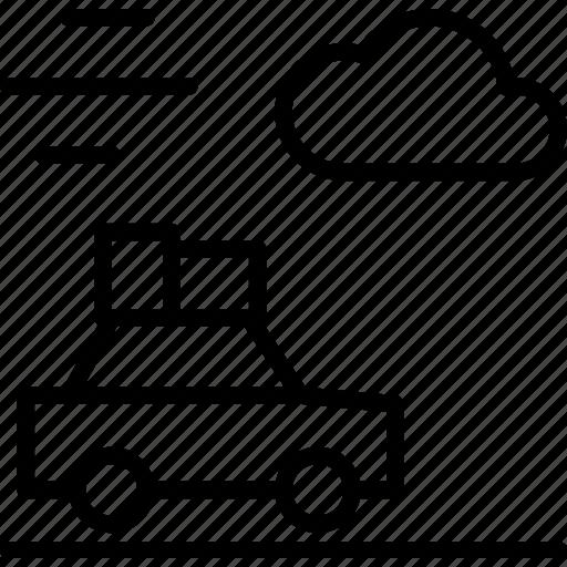 car, cloud, drive, roadtrip, storm, travel, wind icon
