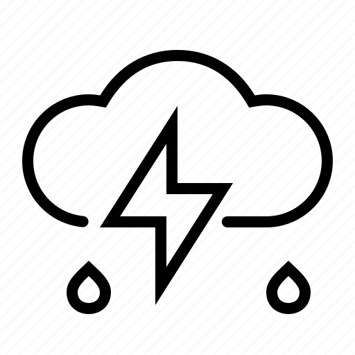 cloud, lightning, rain, weather icon