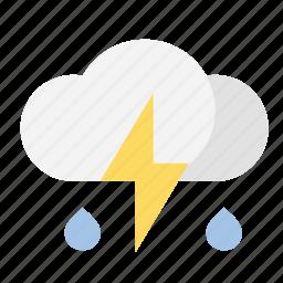 cloud, lightning, rain, weather icon