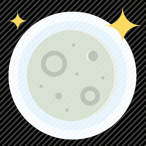 full, moon, night, stars, weather icon