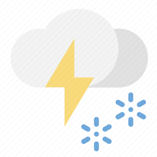 snow, thunder, weather icon