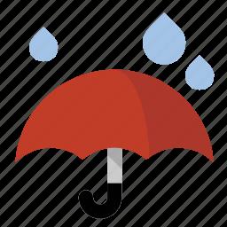 drops, rain, umbrella, weather icon