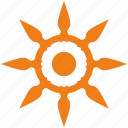 bright, flame, orange, sun, sunny icon