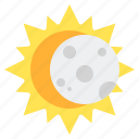 eclipse, moon, sun, weather icon