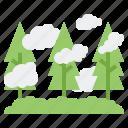 fog, foggy, forest, haze, weather icon