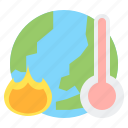 ecology, global, hot, radiation, thermometer, warming icon