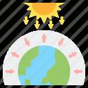 radiation, greenhouse, global, warming, effect icon