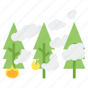 fire, fog, forest, haze, weather icon