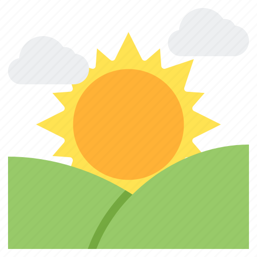 east, hills, morning, sun, sunrise icon