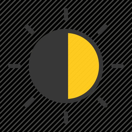 half sun, sun, weather icon