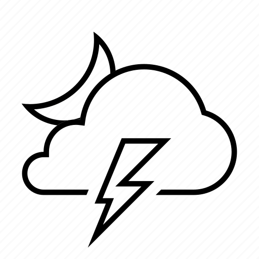 cloud, cloudy, forcast, moon, night, thunder, weather icon
