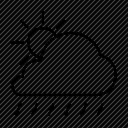 cloud, cloudy, day, forcast, rain, sun, weather icon