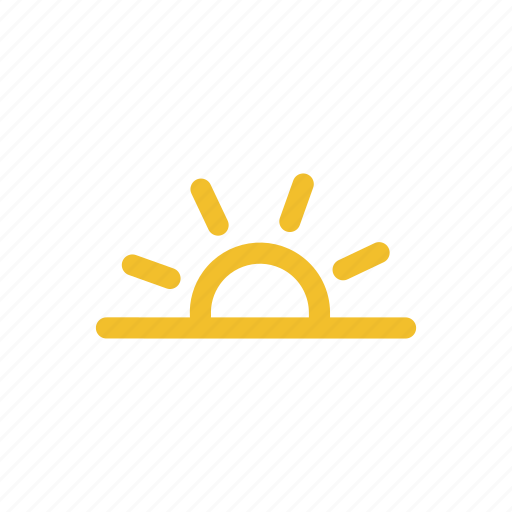 evening, sun, sunny, sunset, weather icon