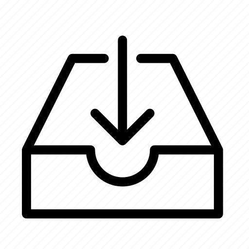 arrow, drawer, file, outside, save icon