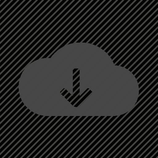 arrow, cloud, down, download, web icon