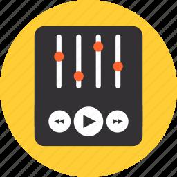 audio, equalizer, mixer, player, slider, sound, video, volume icon