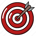 bullseye, setting up target, target, target achieved, target and arrow