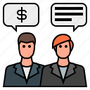 business, conversation, conversing, dollar sign, money talk, negotiation, speech bubble icon