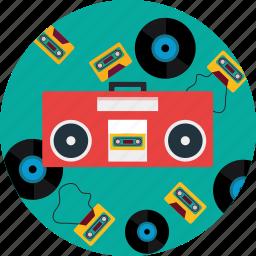 boombox, cd, headphone, music, radio, sound icon