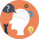 head, idea, man, mind, question, search, thinking icon