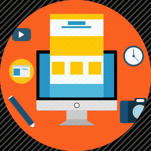 camera, clock, lcd, monitor, pc, pencil, web icon