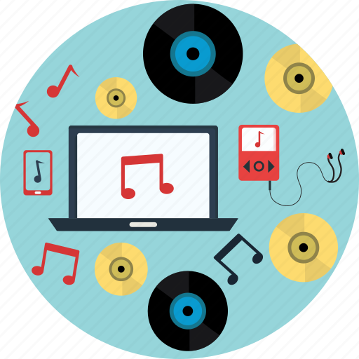 cd, headphone, laptop, music, song icon