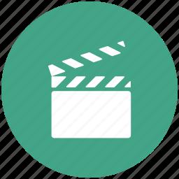 cinema, clapper, film, movie flap icon