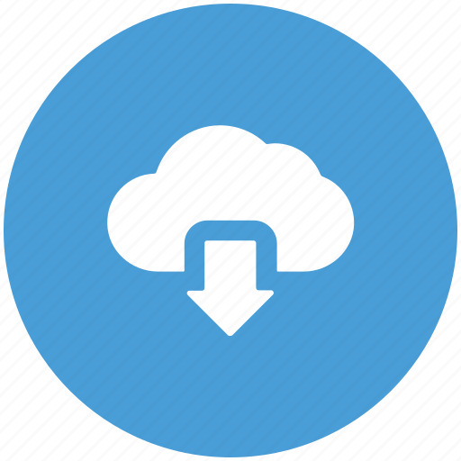 arrow, cloud, cloud network, down, download icon