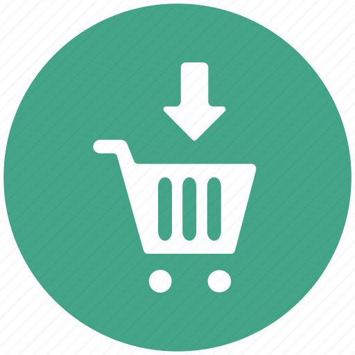 add to cart, basket, cart, down arrow, trolley icon