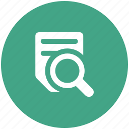 magnifier, paper, search, text icon