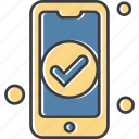 mobile, phone, smartphone, tick
