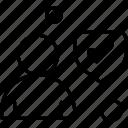 avatar, man, shield, tick
