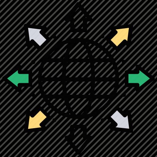 communication network, global network, grid globe, satellite, technology-based network icon