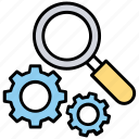 active search, internet search engine, magnifier with gear, seo analysis, seo audit