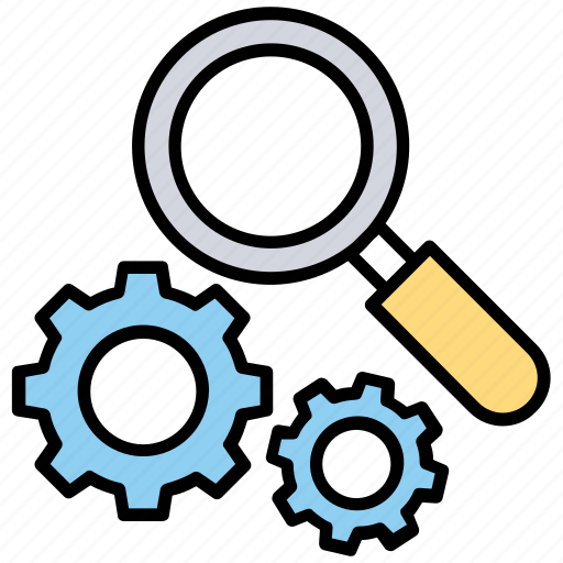 active search, internet search engine, magnifier with gear, seo analysis, seo audit icon
