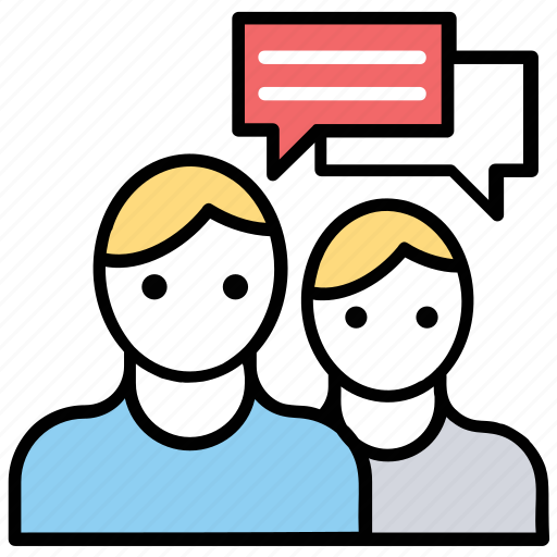 communication, conversation, dialogue between two people, discussion, people talking, speech bubbles icon
