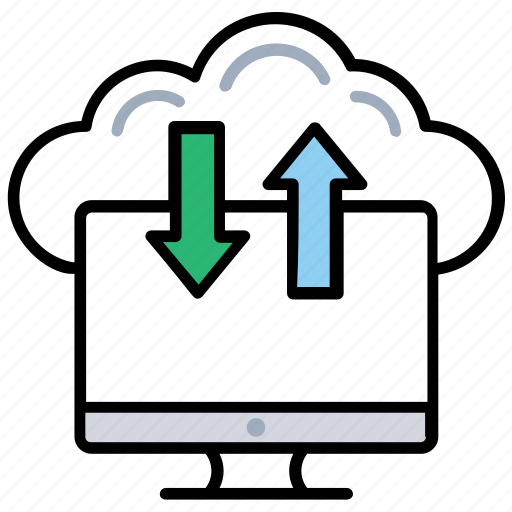 cloud backup system, data transferring, informations download, shared informations, upload information icon